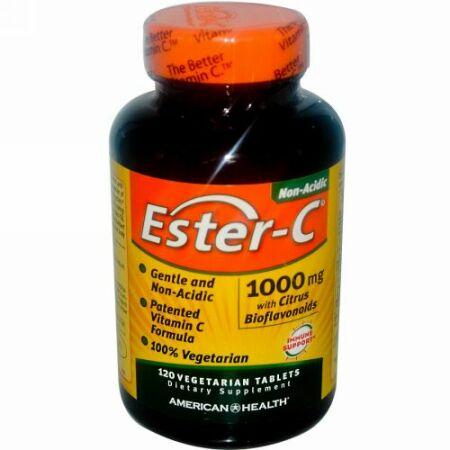 American Health, Ester-C(エスターC)、1,000mg、植物性タブレット120粒