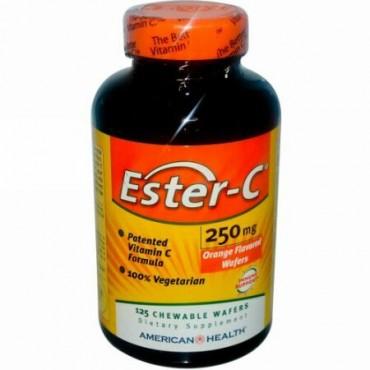 American Health, エスター-C、 オレンジフレーバー、 250 mg、 125チュアブルウェファー