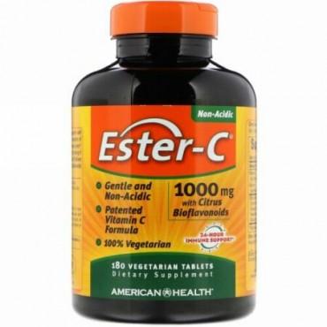 American Health, アメリカンヘルス, Ester-C, 1000 mg with Citrus Bioflavonoids, 180 Veggie Tabs