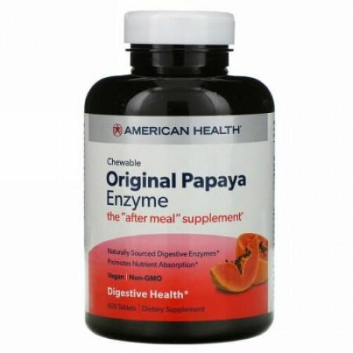 American Health, オリジナル・パパイヤ酵素, 600 チュアブル錠