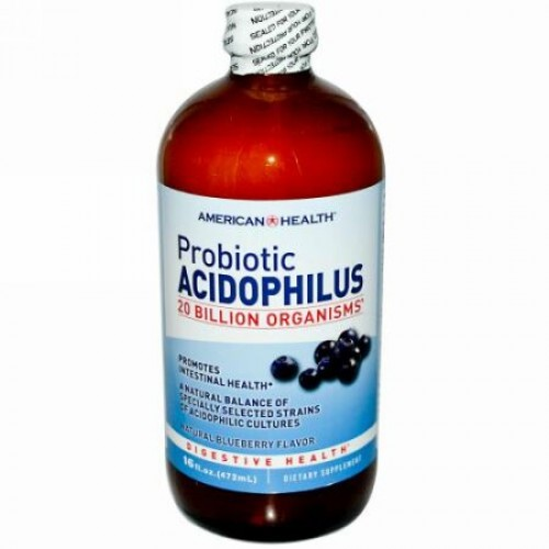 American Health, プロバイオティクス・アシドフィルス、天然ブルーベリー味、16 fl oz (472 ml) (Discontinued Item)