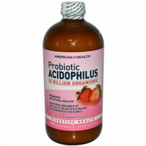 American Health, プロバイオティック アシドフィルス, ナチュラルストロベリーフレーバー, 16 液量オンス(472 ml) (Discontinued Item)
