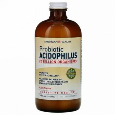 American Health, プロバイオティックアシドフィルス、 プレーンフレーバー、 16 fl oz (472 ml)