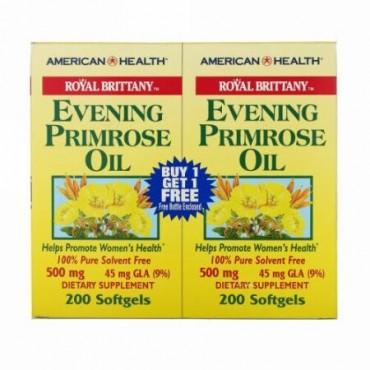 American Health, ロイヤル ブリタニー、イブニングプリムローズオイル、500 mg、2本、各瓶ソフトジェル200個