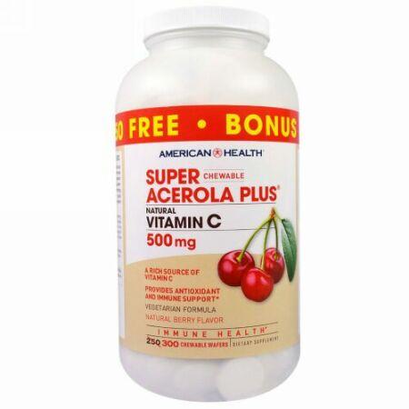 American Health, スーパーチュアブル アセロラプラス、 ナチュラルベリーフレーバー、 500 mg、 300チュアブルウエハース