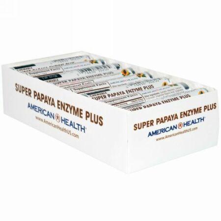 American Health, オリジナルパパイヤ酵素+チュアブル錠、16ロール、各12錠 (Discontinued Item)