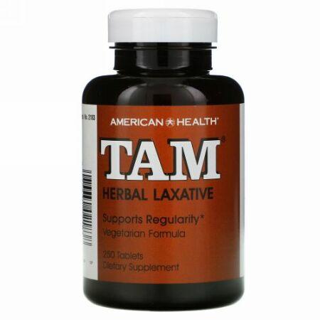 American Health, TAM、 ハーブ通じ薬、タブレット 250 錠