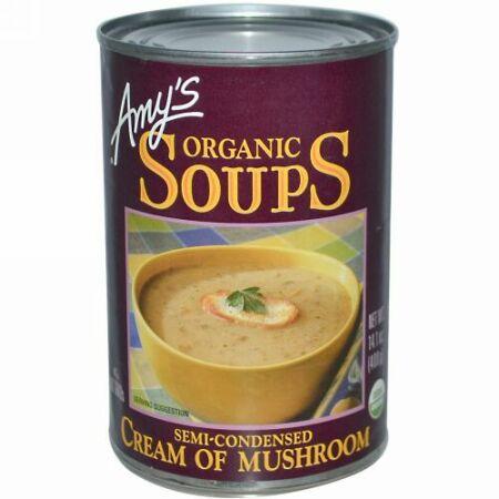 Amy's, オーガニックスープ、クリーム・オブ・マッシュルーム、 14.1 オンス (400 g) (Discontinued Item)