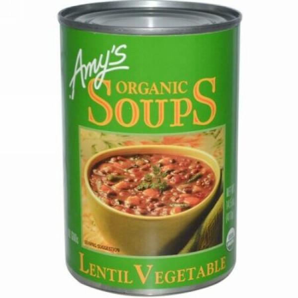 Amy's, オーガニックスープ, レンズ・ベジタブル, 14.5 oz (411 g) (Discontinued Item)