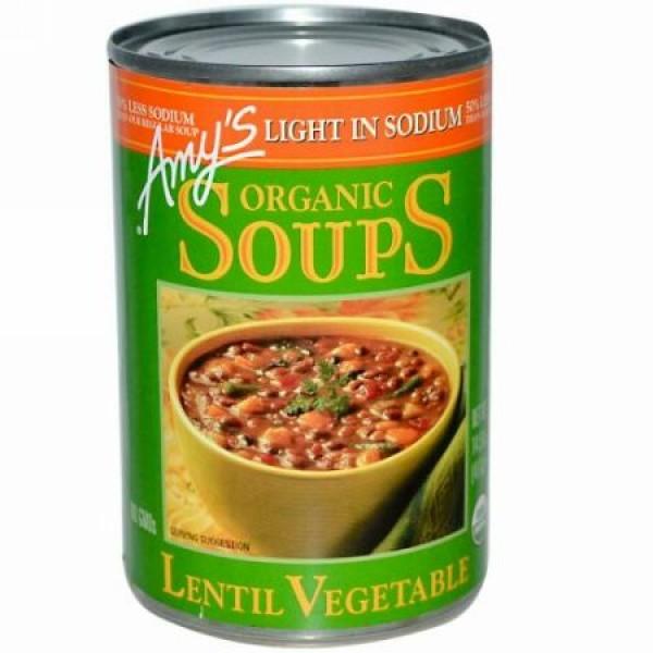 Amy's, オーガニックスープ, レンズ・ベジタブル, 塩分控えめ, 14.5 オンス (411 g) (Discontinued Item)