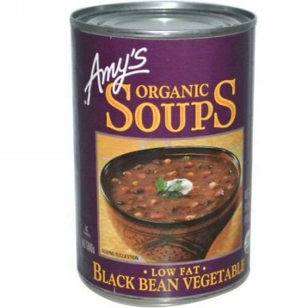 Amy's, オーガニック スープ、 ローファット ブラックビーン 野菜、 14.5 oz (411 g) (Discontinued Item)