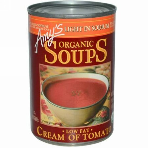 Amy's, オーガニックスープ, 低脂肪 クリーム・オブ・トマト, 塩分控えめ, 14.5 オンス (411 g) (Discontinued Item)