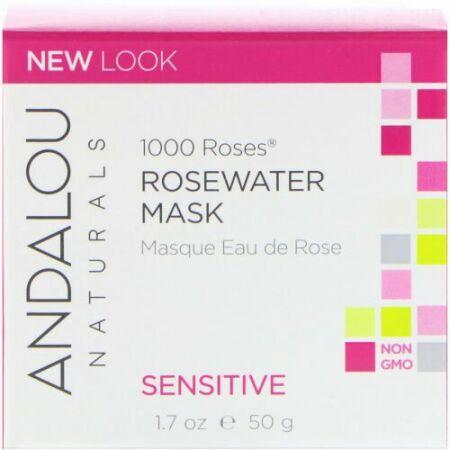 Andalou Naturals, 1000ローズ、薔薇水マスク、センシティブ、1.7 oz (50 g)