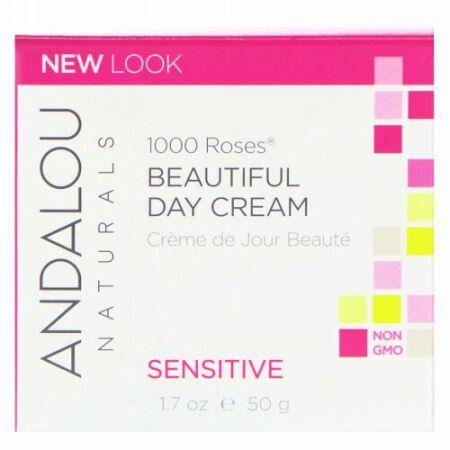 Andalou Naturals, ビューティフルデークリーム、 1000ローズ、 敏感肌用、 1.7オンス (50 ml)