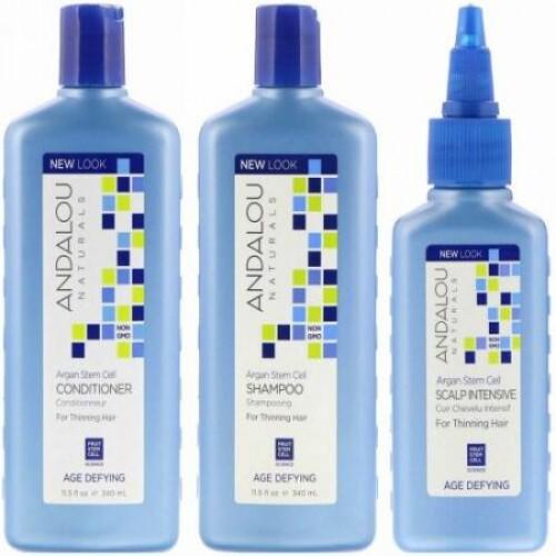 Andalou Naturals, アルガン幹細胞, 薄毛システム, 年齢に挑戦, 3個セット