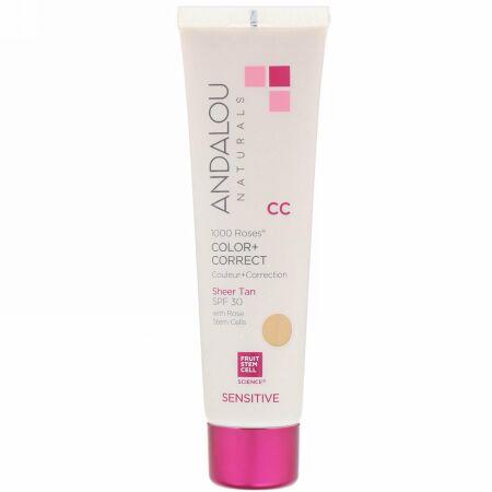Andalou Naturals, CC 1000 Roses Color + Correct, Sensitive, SPF 30, Sheer Tan, 2 fl oz (58 ml)