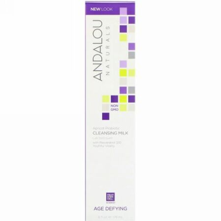 Andalou Naturals, Apricot Probiotic Cleansing Milk, Age-Defying, 6 fl oz (178 ml)