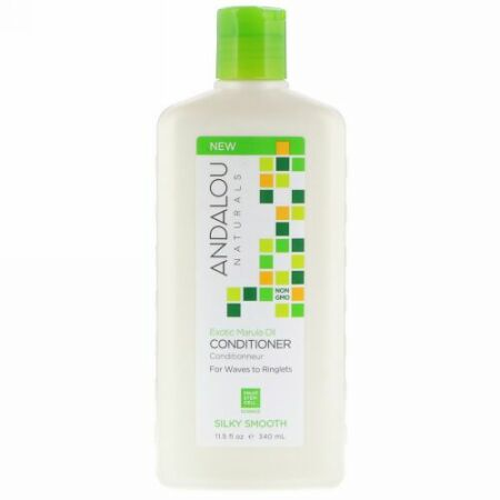Andalou Naturals, Conditioner, Silky Smooth, For Waves to Ringlets, Exotic Marula Oil, 11.5 fl oz (340 ml) (Discontinued Item)