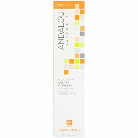 Andalou Naturals, クリーミークレンザー、マイヤーレモン + C、ブライトニング、6液量オンス (178 ml)