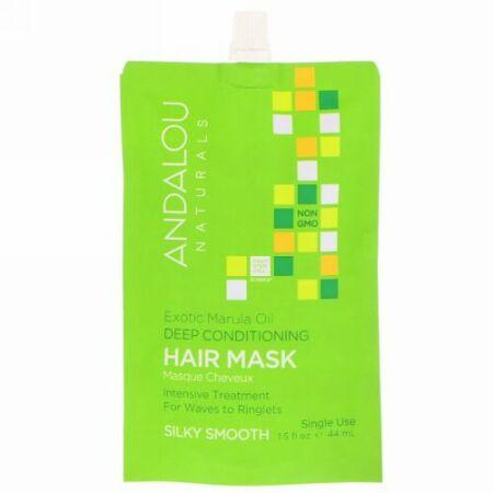 Andalou Naturals, Exotic Marula Oil Silky Smooth Deep Conditioning Hair Mask, 1.5 fl oz (44 ml)