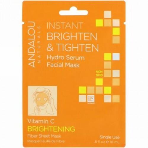 Andalou Naturals, 瞬時に明るく引き締まった素肌に、ハイドロセラム・フェイシャルマスク、ブライトニング、使い捨てファイバーシートマスク1枚入り、.6 液量オンス (18 ml)