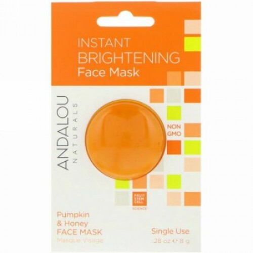 Andalou Naturals, Instant Brightening Face Mask、パンプキン&ハニー、 .28 oz (8 g)