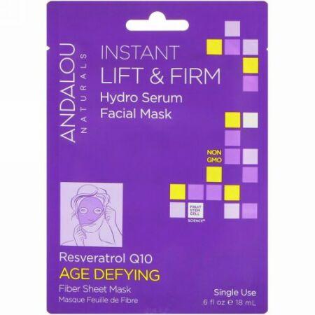 Andalou Naturals, Instant Lift & Firm, Hydro Serum Facial Mask, Age Defying、使い捨てのファイバーシートマスク、.6 fl oz (18 ml)