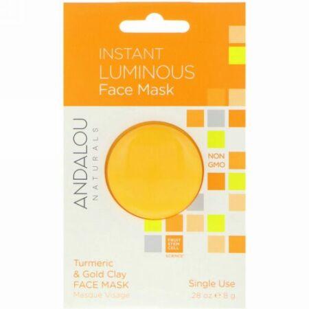Andalou Naturals, インスタントルミナス、ターメリック、ウコンとゴールドのクレイフェースマスク、28 oz (8 g)