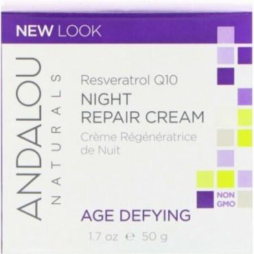 Andalou Naturals, ナイトリペアクリーム, レスペラトロルQ10, 老化対策, 50 ml