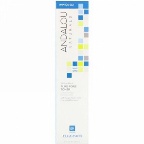 Andalou Naturals, ピュアポア化粧水、ヤナギ樹皮、クリアスキン、178ml(6液量オンス)