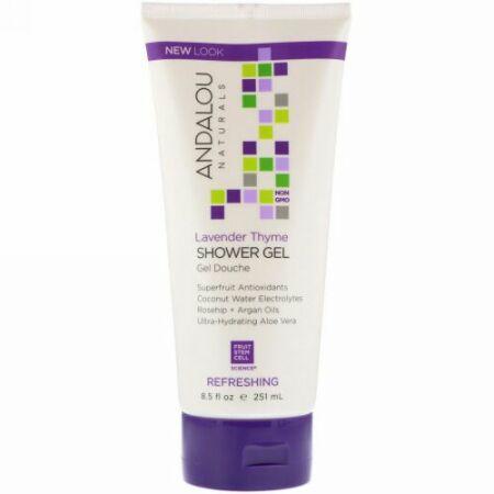 Andalou Naturals, Shower Gel, Refreshing, Lavender Thyme, 8.5 fl oz (251 ml) (Discontinued Item)