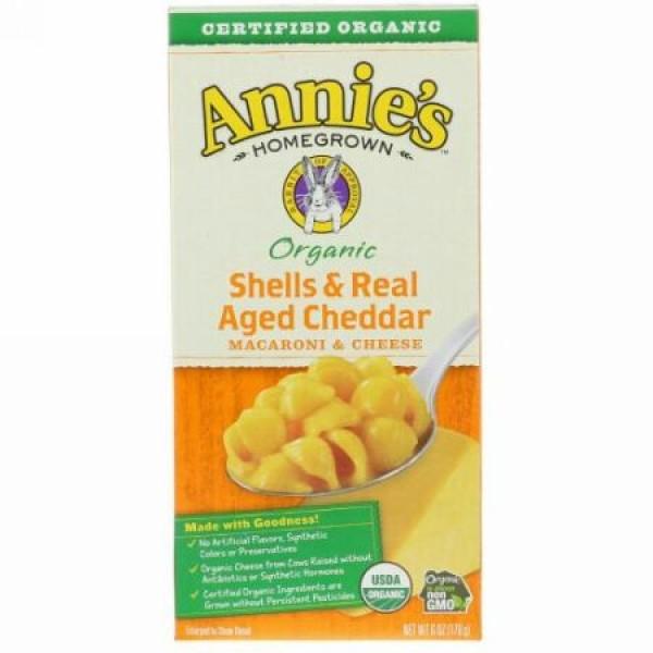 Annie's Homegrown, 認定オーガニック シェル & ベイクド エイジド チェダー、 マカロニ & チーズ、 6 oz (170 g) (Discontinued Item)