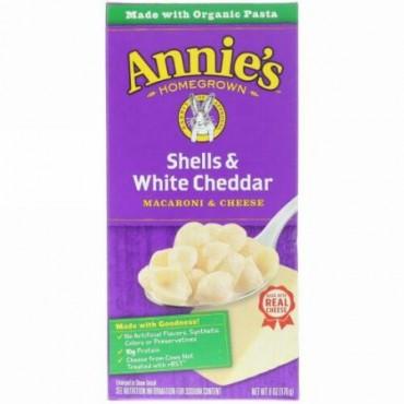 Annie's Homegrown, シェル & ホワイトチェダー, マカロニ & チーズ, 6 オンス (170 g)