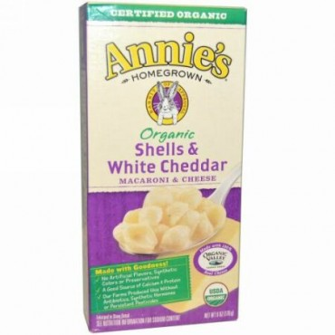 Annie's Homegrown, オーガニック、マカロニ&チーズ、シェルとホワイトチェダー、6 oz (170 g) (Discontinued Item)
