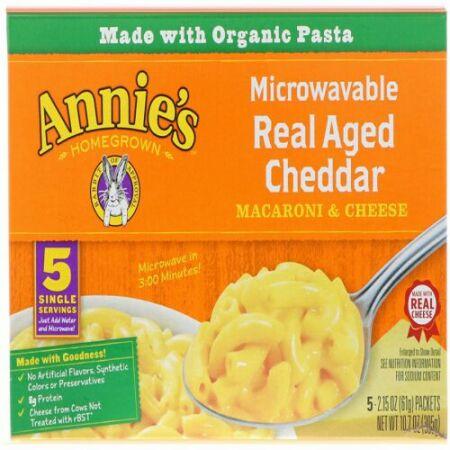 Annie's Homegrown, 電子レンジ使用可マカロニ&チーズ、 ベイクド チェダー、 5 パケット、 各2.15 oz (61 g)