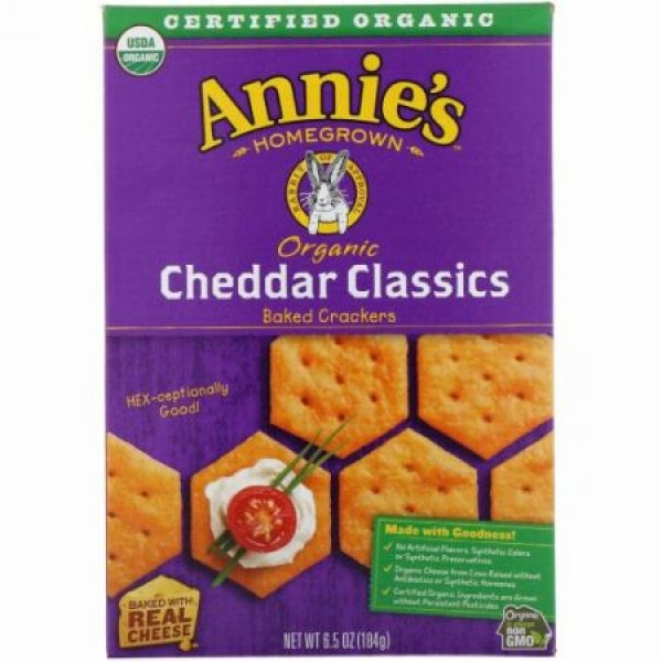 Annie's Homegrown, Organic Baked Crackers, Cheddar Classics, 6.5 oz (184 g) (Discontinued Item)