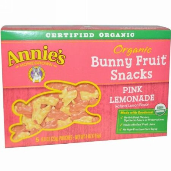 Annie's Homegrown, Organic Bunny Fruit Snack, Pink Lemonade, 5 Pouches, 0.8 oz (23 g) (Discontinued Item)