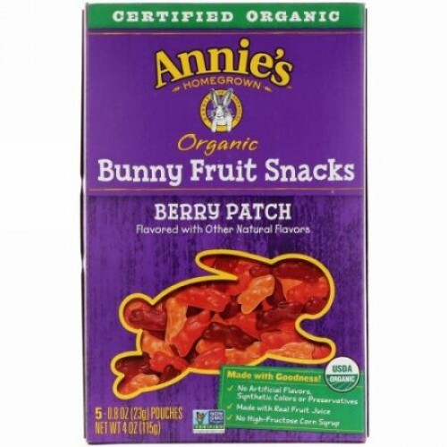 Annie's Homegrown, オーガニック バニー フルーツ スナック, ベリー パッチ, 5 袋, 0.8 oz (23 g) Each