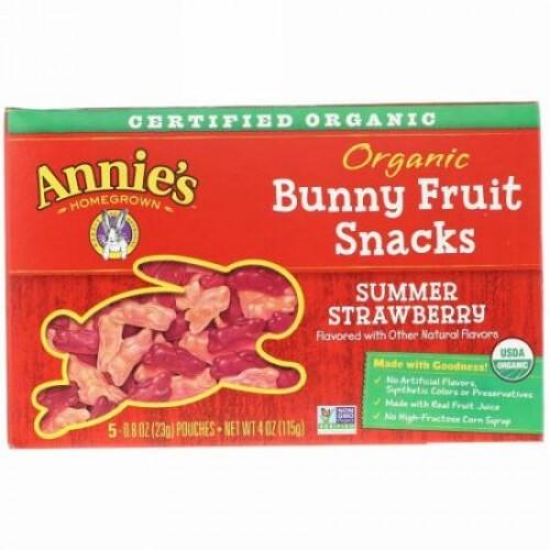 Annie's Homegrown, オーガニック バニーフルーツスナック、 サマーストロベリー、 4 oz (115 g)