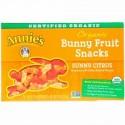 Annie's Homegrown, オーガニック・バニーフルーツ™ スナック, サニーシトラス, 5 袋, 各 0.8 オンス (23 g) (Discontinued Item)
