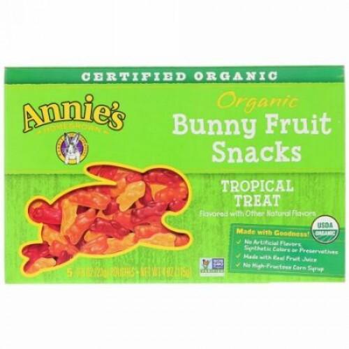 Annie's Homegrown, オーガニック バニー フルーツ スナック, トロピカル トリート, 5 袋, 各0.8 oz (23 g)