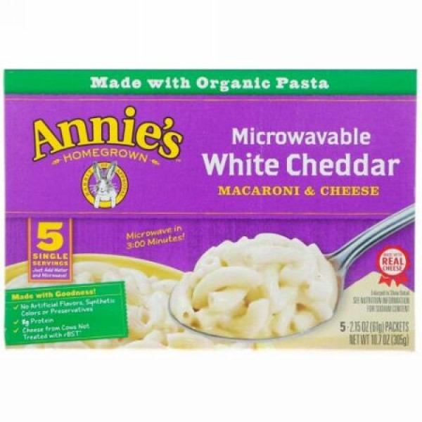 Annie's Homegrown, Organic Microwavable Macaroni & Cheese, White Cheddar , 5 Packets, 2.15 oz (61 g) Each (Discontinued Item)