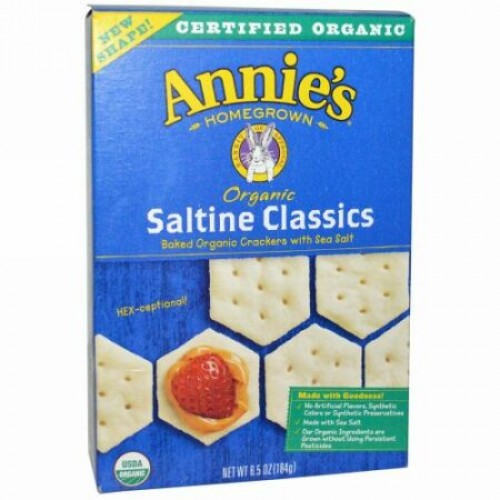 Annie's Homegrown, オーガニック ソルティン・ベークド・オーガニッククラッカー シーソルト付き, 6.5 オンス (184 g)