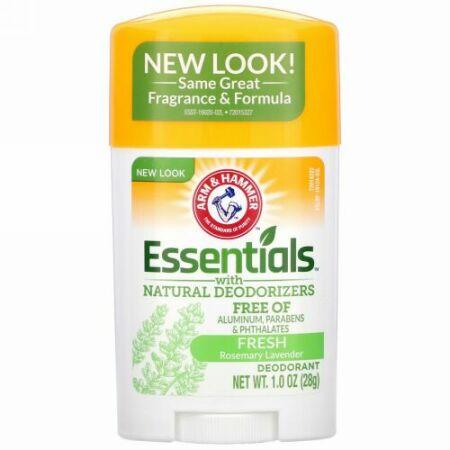 Arm & Hammer, Essentials(エッセンシャル)天然脱臭成分入り、制汗、フレッシュローズマリー ラベンダーの香り、28g(1.0オンス)