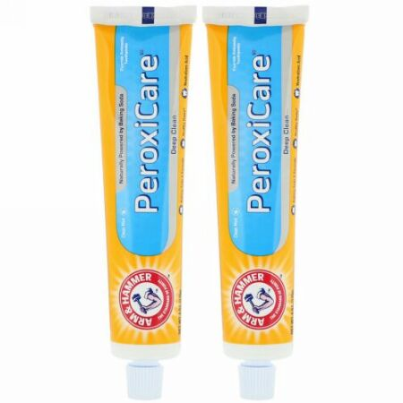 Arm & Hammer, PeroxiCare, Deep Clean, Fluoride Anticavity Toothpaste, Clean Mint, Twin Pack, 6.0 oz (170 g) Each