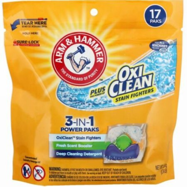 Arm & Hammer, プラス・オキシクリーン、3-イン-1パワーパック洗濯洗剤、新鮮な香り、17パック (Discontinued Item)