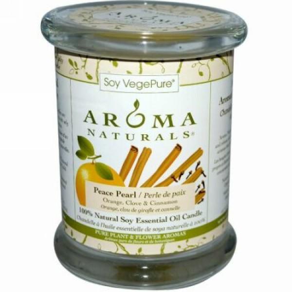 Aroma Naturals, 100%天然大豆エッセンシャルオイルキャンドル、ピースパール、オレンジ、クローブとシナモン、 8.8 oz (260 g) (Discontinued Item)