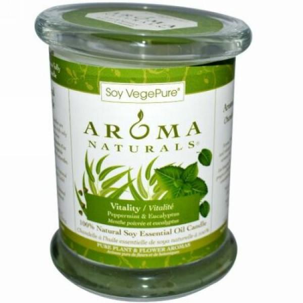 Aroma Naturals, 100% 天然ソイ・エッセンシャルオイル・キャンドル、 バイタリティ、ペパーミント & ユーカリ、 8.8 オンス(260 g) (Discontinued Item)