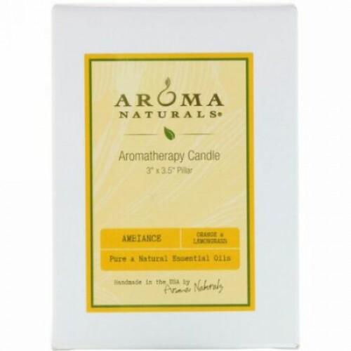 "Aroma Naturals, Aromatherapy Candle, Ambiance, Orange & Lemongrass, 3"" x 3.5"" Pillar (Discontinued Item)"