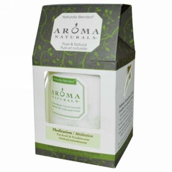 """Aroma Naturals, ナチュラリー・ブレンデッド™, ピラーキャンドル, 瞑想, パチョリ & 乳香, 3"""" x 3.5"""" (Discontinued Item)"""
